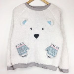 LOVE TO LOUNGE sweater popcorn knit bear mittens